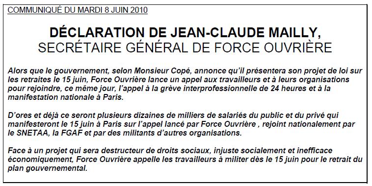 Déclaration de Jean Claude Mailly du 08/06/10