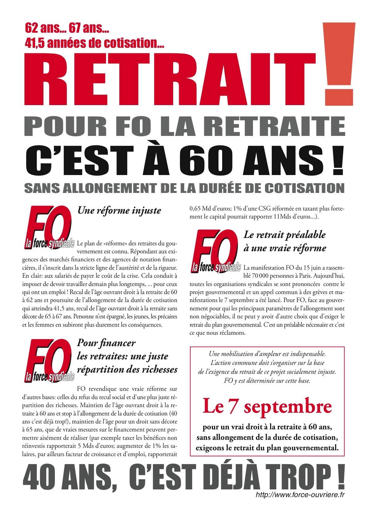 Tract FO Retraites Juillet 2010
