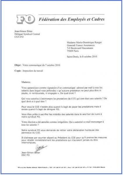 Lettre adressée le 08/10/10 à l'auteur du communiqué