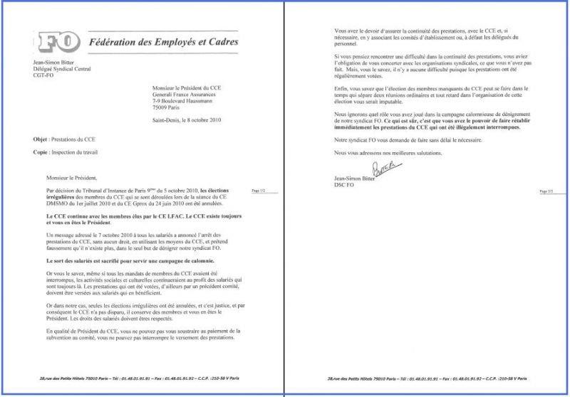 Lettre adressée le 08/10/10 au président du CCE