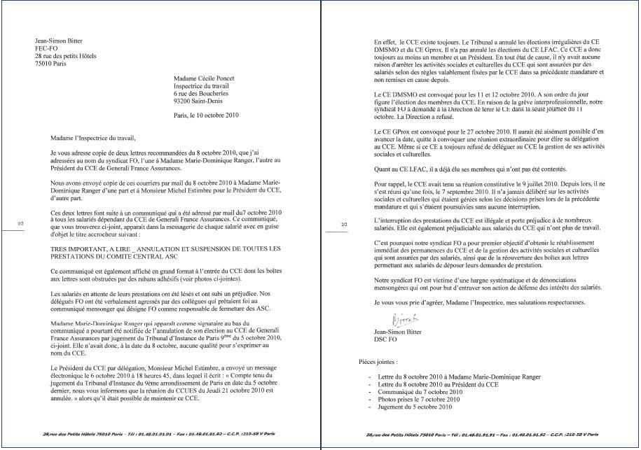 Lettre envoyée à l'IT le 10 octobre 2010