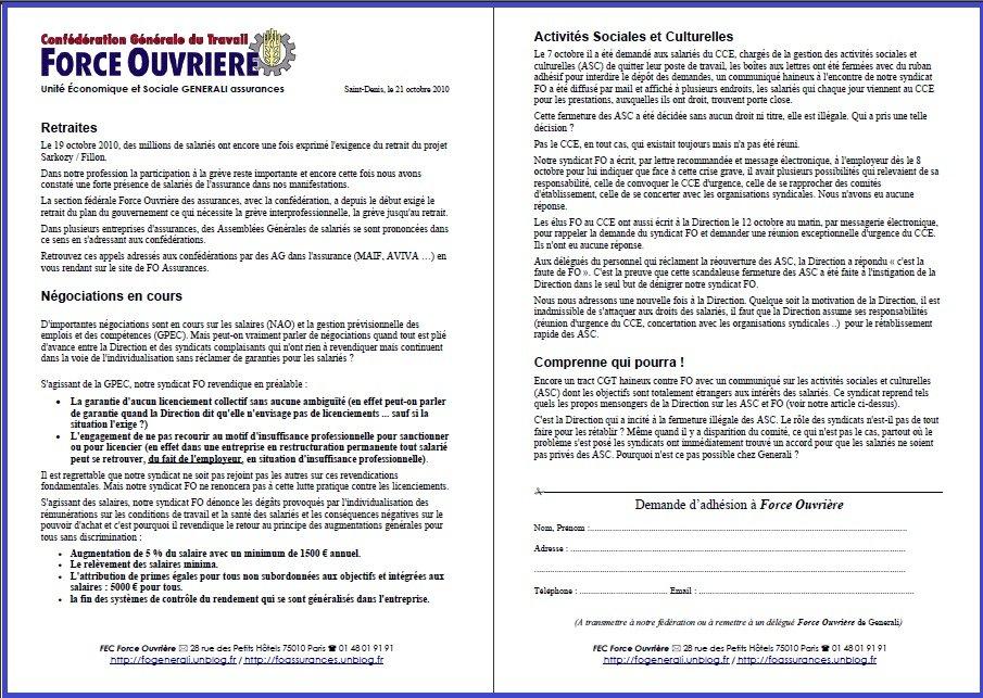 Cliquez ici pour lire le tract FO Generali du 21 octobre 2010