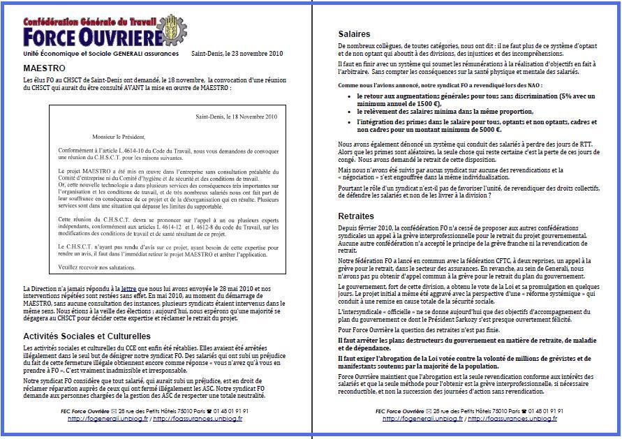 Cliquez ici pour lire le tract FO Generali du 23 novembre 2010
