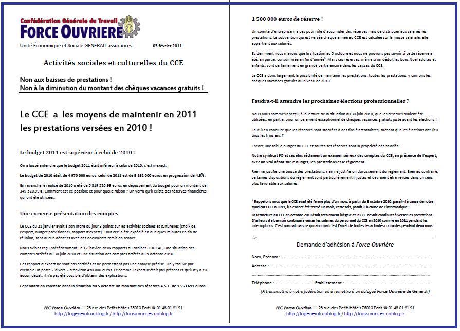 Cliquez ici pour lire le tract FO Generali du 3 février 2011