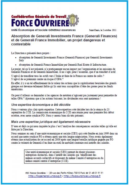 Tract FO General 2 octobre 2011