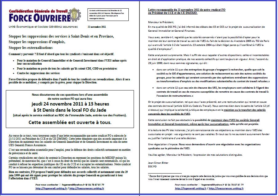 Tract FO Generali 22 novembre 2011