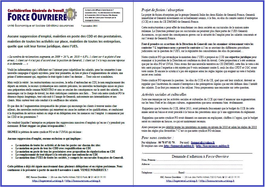 Tract FO General7 novembre 2011