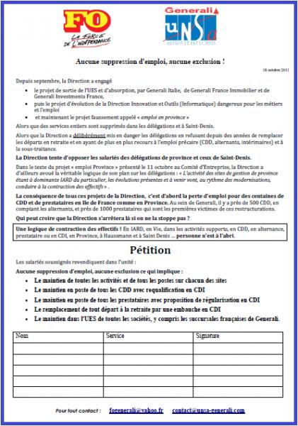 Cliquez ici pour lire le tract-pétition FO et UNSA Generali du 18 octobre 2011