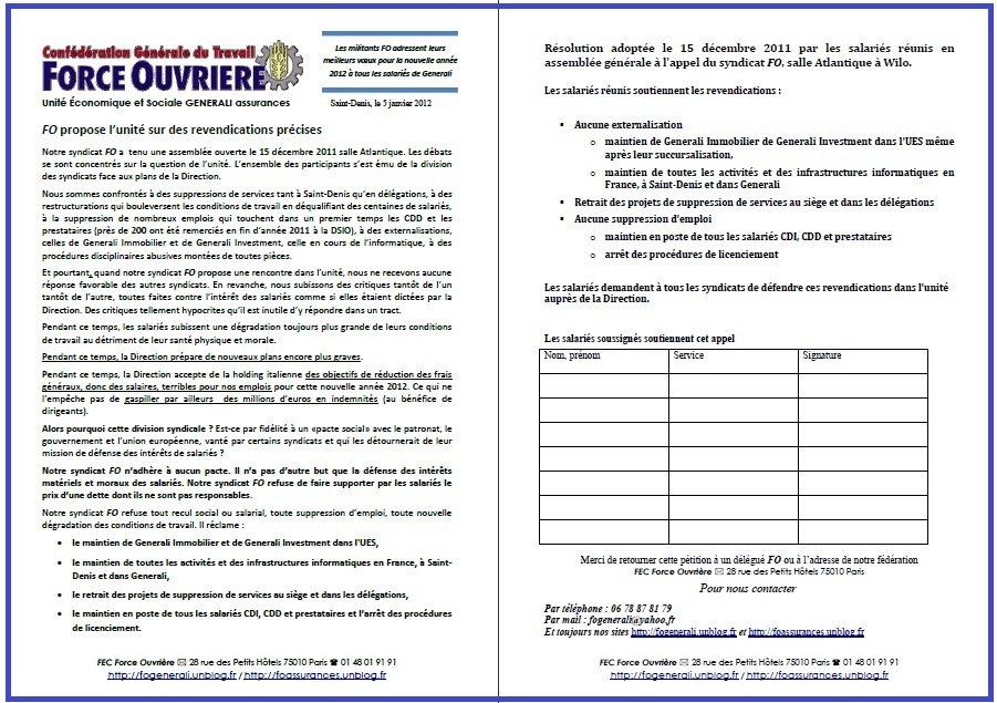 Tract FO Generali 5 janvier 2012
