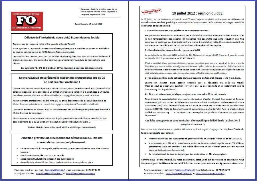 Tract FO Generali du 19 Juillet 2012