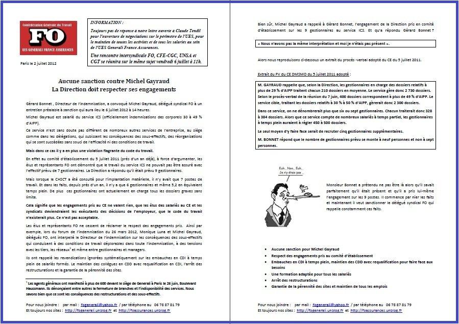 Tract FO Generali Juillet 2012