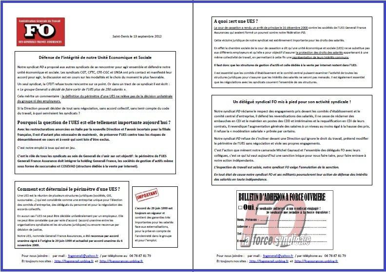 Tract FO Generali du 13 Septembre 2012
