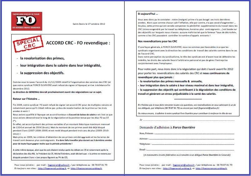 Tract FO Generali Spécial CRC du 17 Octobre 2012