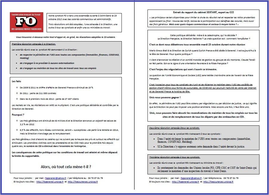Tract FO Generali du 10 Octobre 2012