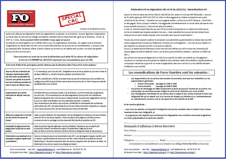 Tract FO Generali Spécial CRC du 20 Décembre 2012