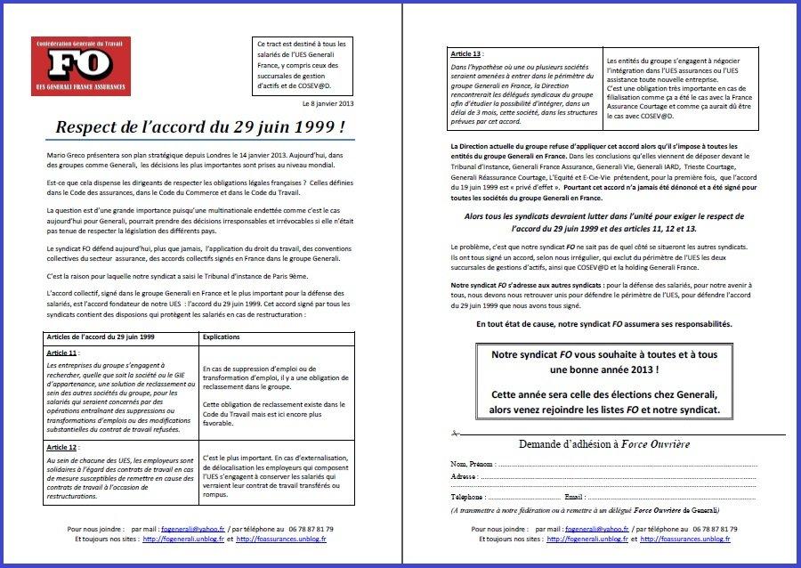 Tract FO Generali du 08 Janvier 2013