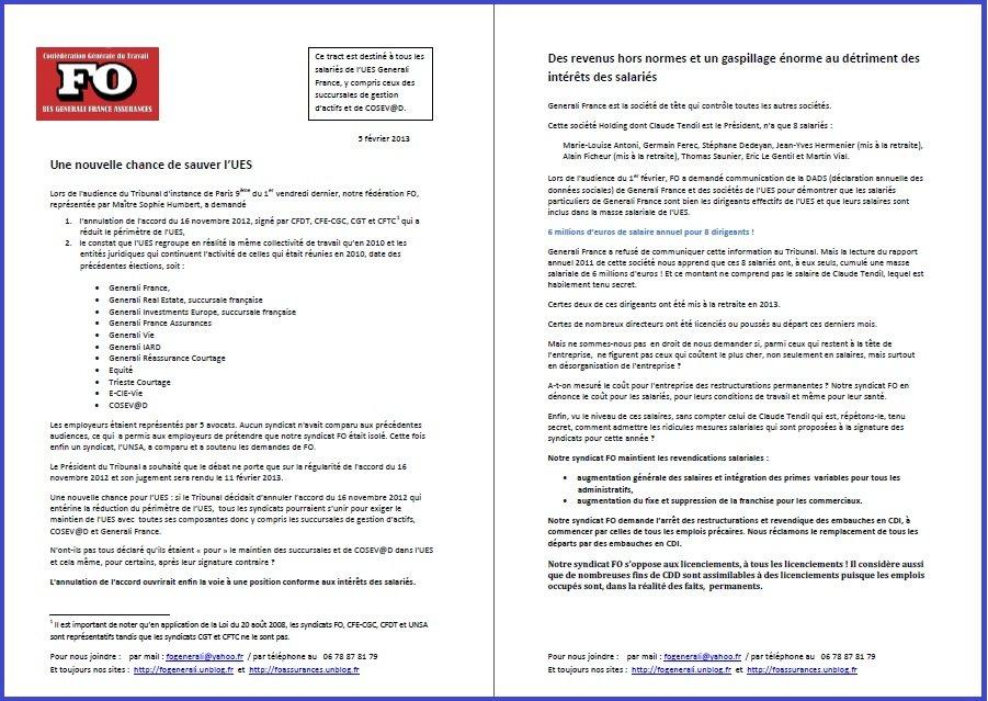 Tract FO Generali du 05 Février 2013