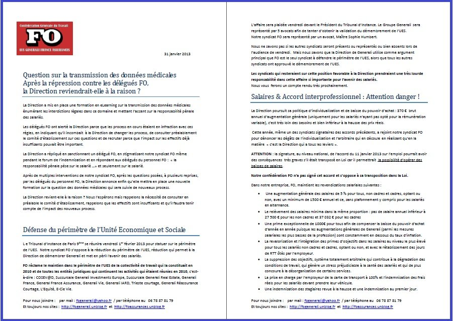 Tract FO Generali du 31 Janvier 2013