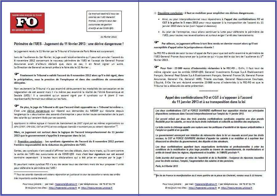 Tract FO Generali du 21 Février 2013