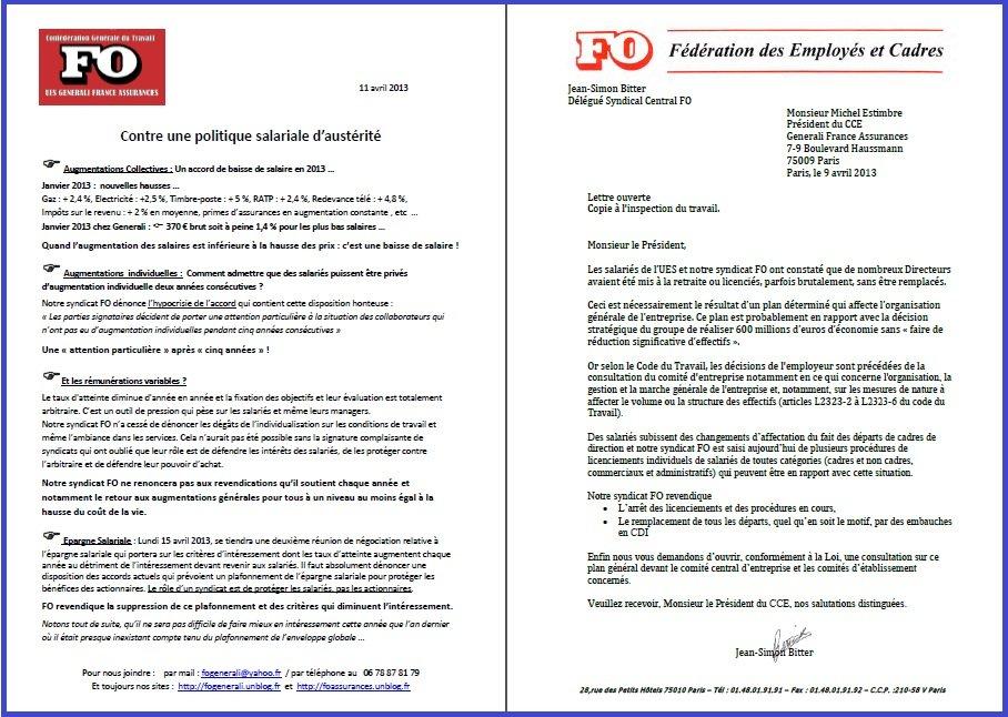 Tract FO Generali du 11 Avril 2013