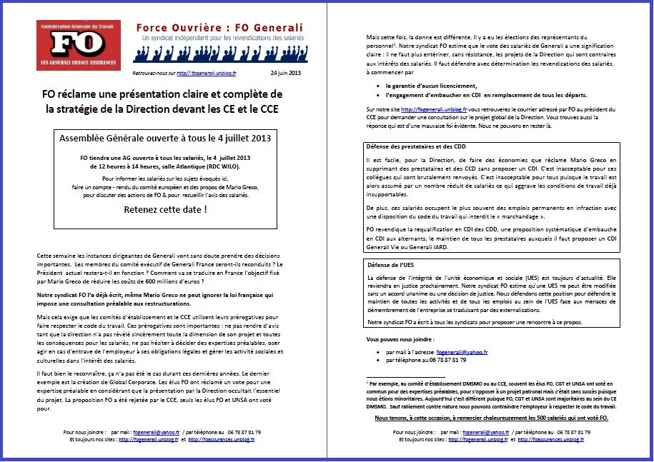 Tract FO Generali du 24 Juin 2013