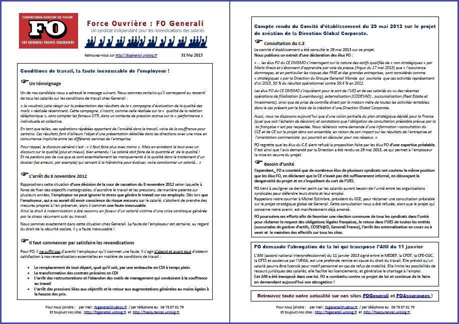 Tract FO Generali du 31 Mai 2013