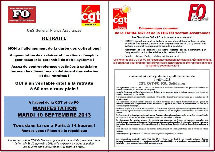 Tract FO & CGT Generali du 6 septembre 2013