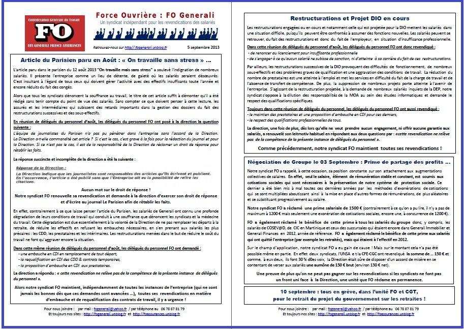Tract FO Generali du 5 septembre 2013