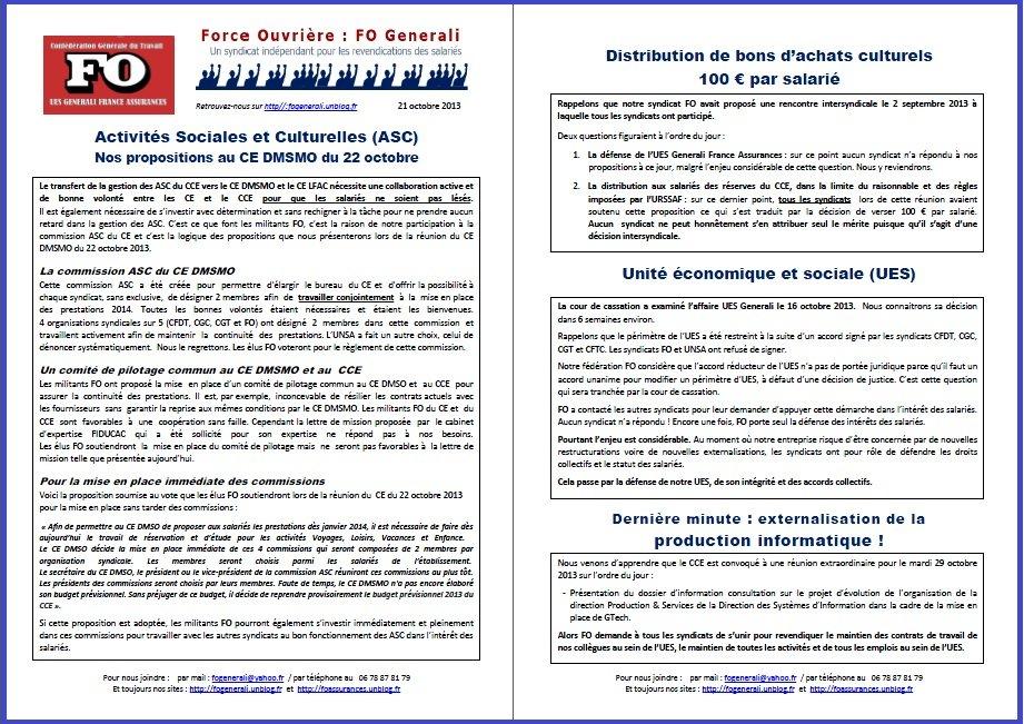 Tract FO Generali du 21 octobre 2013