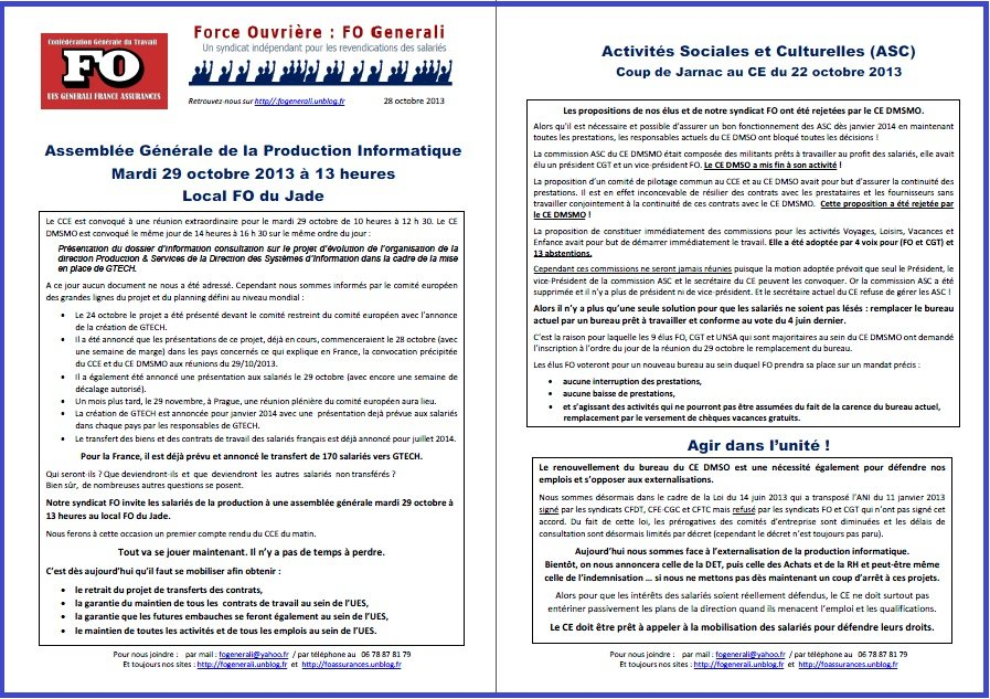 Tract FO Generali du 28 octobre 2013