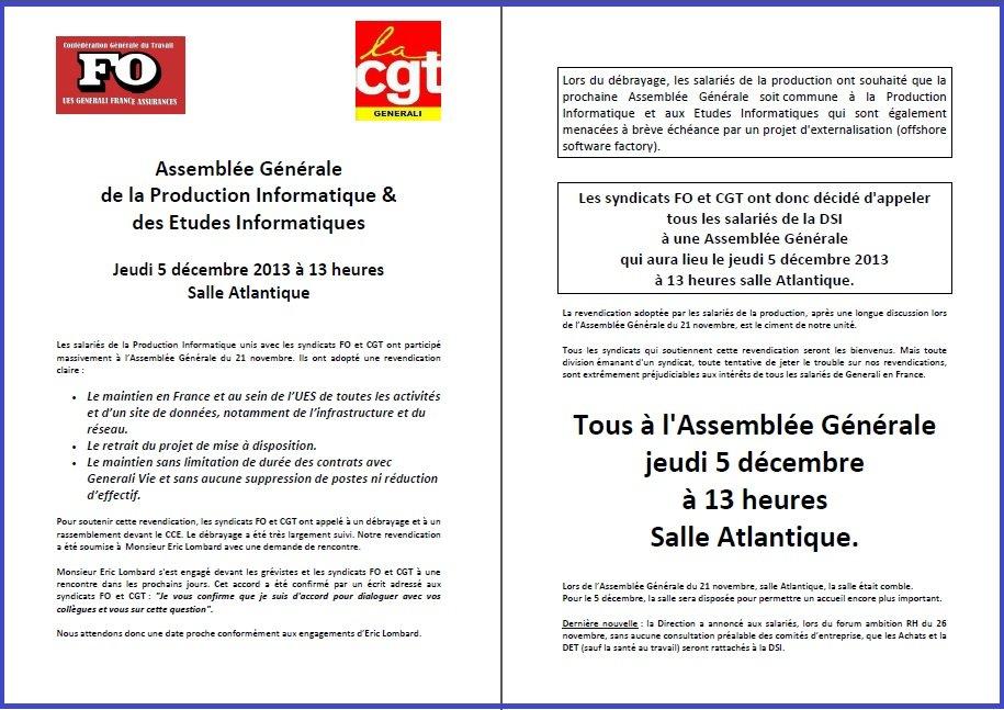 Tract FO & CGT Generali du 19 novembre 2013