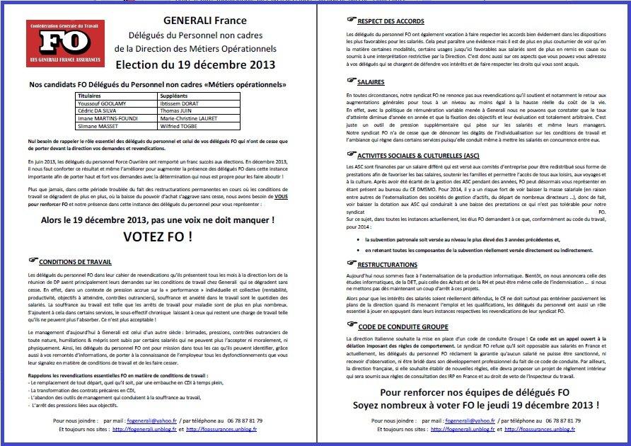 Tract FO Generali du 18 Décembre 2013