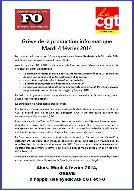 Tract FO & CGT Generali du 30 janvier 2014
