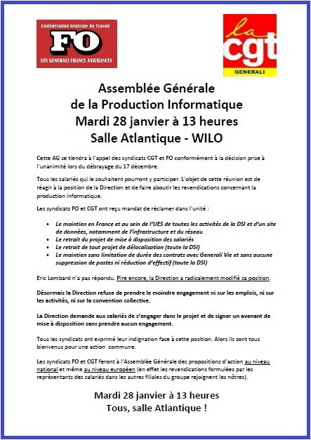Tract FO & CGT Generali du 28 janvier 2014