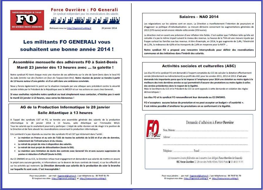 Tract FO Generali du 20 janvier 2014