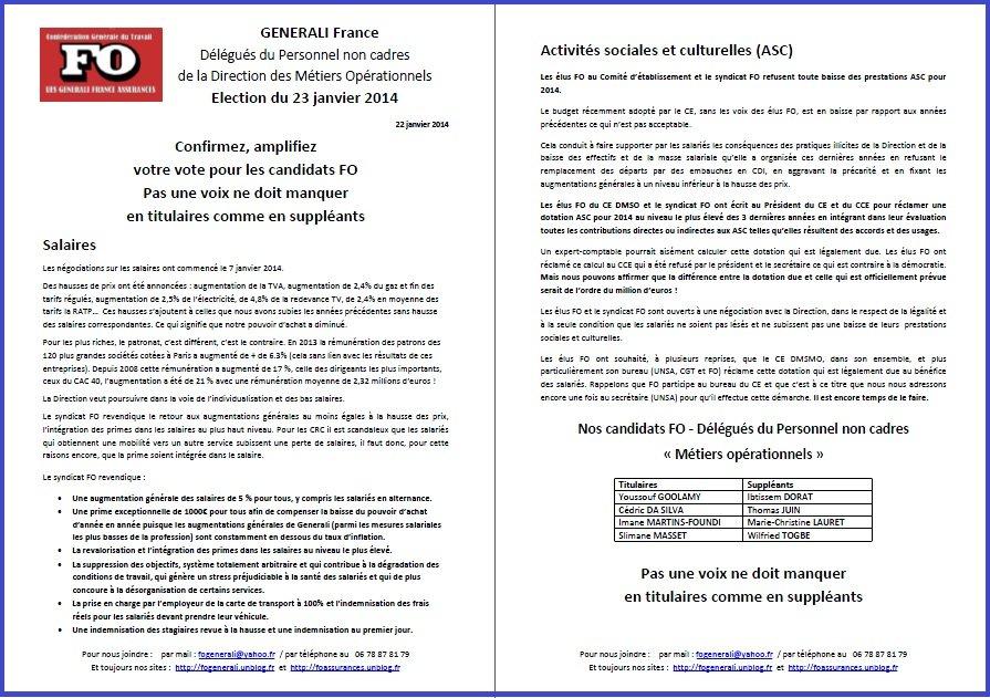 Tract FO Generali du 22 Janvier 2014