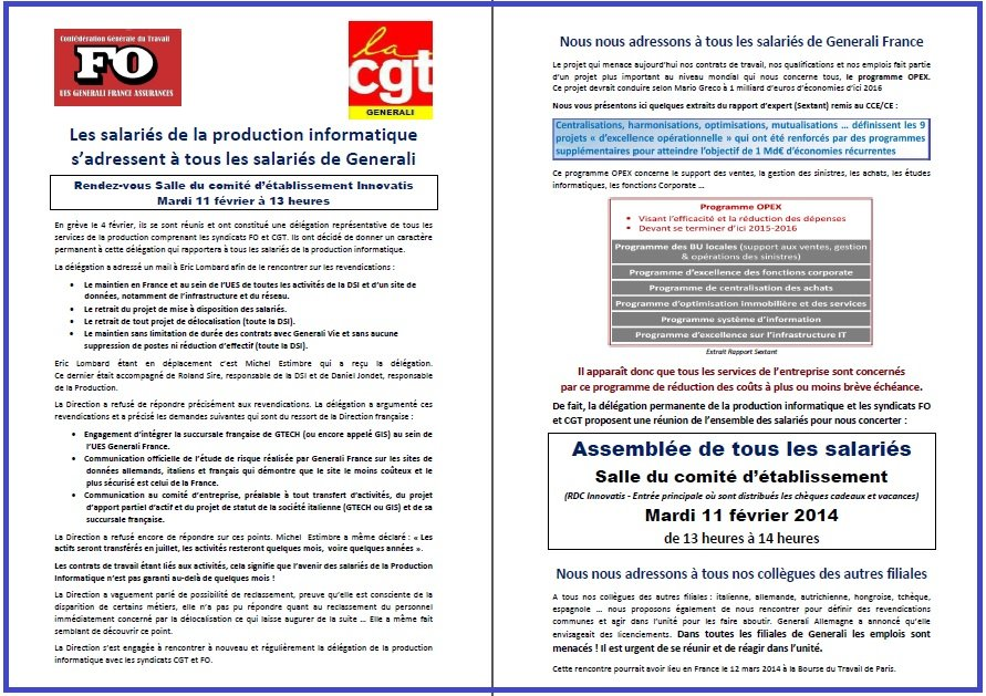 Tract FO & CGT Generali 07 02 14 Appel Assemblée du 11 02 14