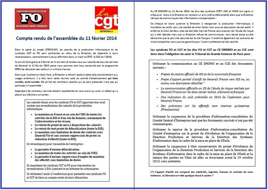Appel FO & CGT Generali Assemblée des Salariés 11 02 2014