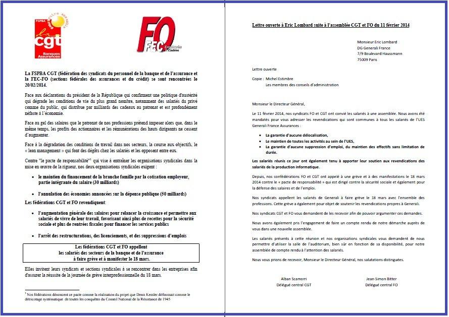 Tract FO & CGT Generali du 11 MARS 2014