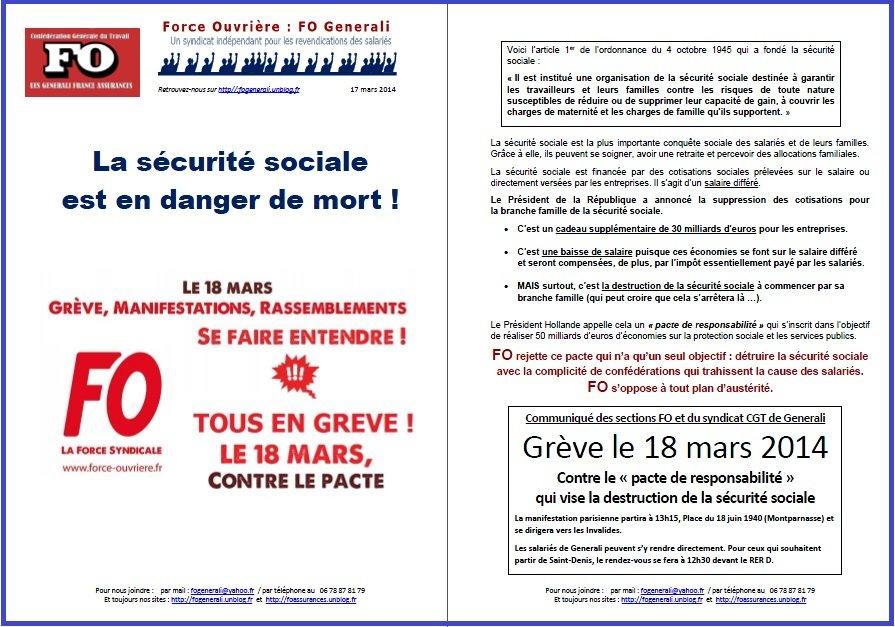 Appel FO Generali à la grève du 18 mars contre le Pacte de Responsabilité