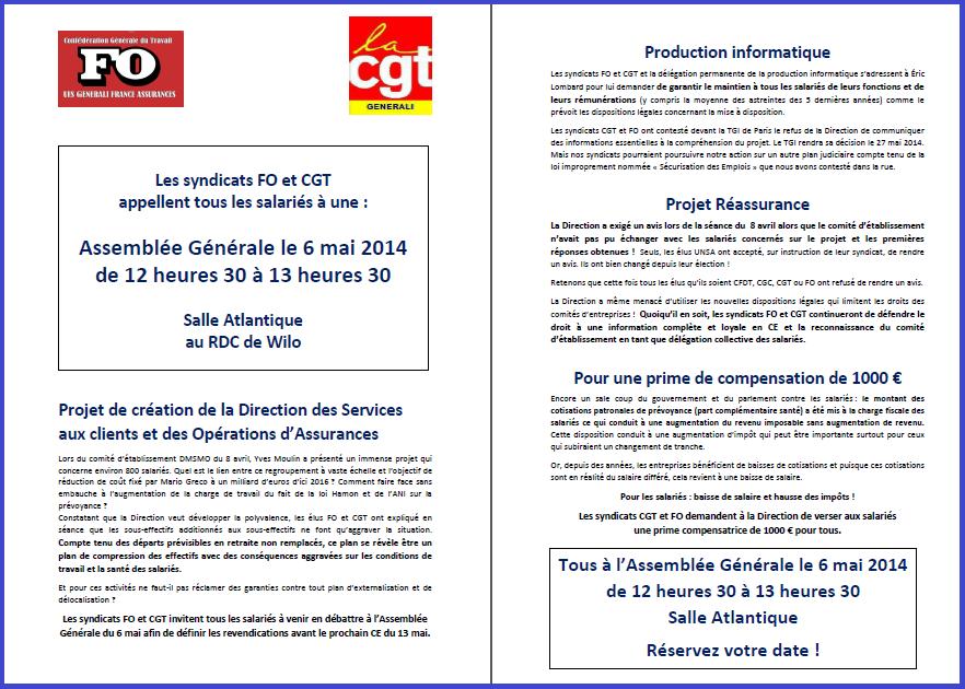 Tract FO & CGT Generali 15 04 14