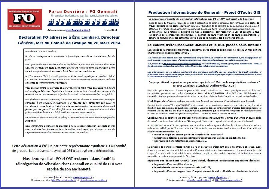 Tract FO Generali du 01 Avril 2014