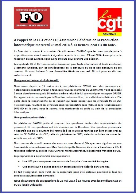 Tract FO CGT Generali Greve Production Informatique 03 02 2014