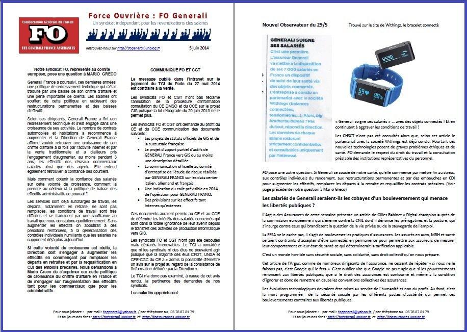 Tract FO Generali du 05 Juin 2014