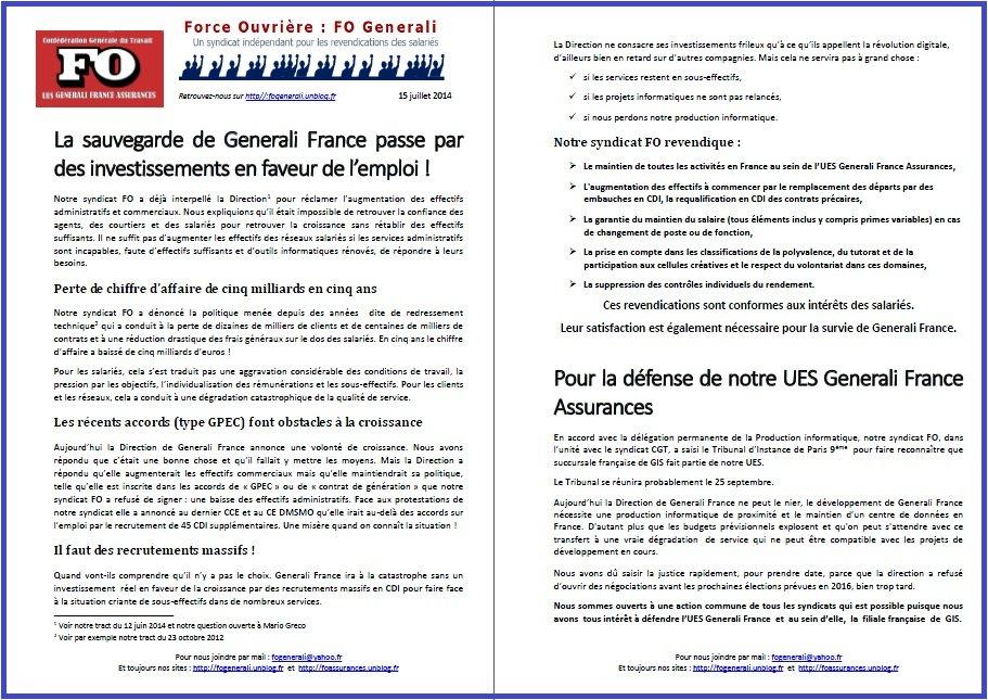 Tract FO Generali du 15 Juillet 2014
