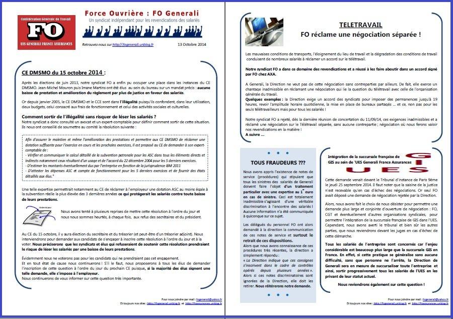 Tract FO Generali du 13 octobre 2014