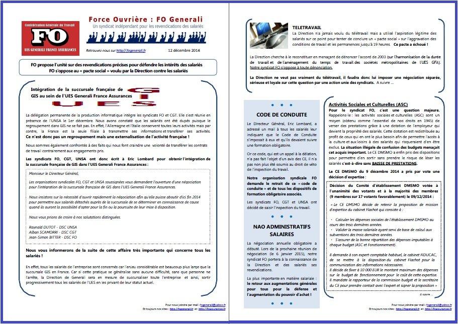 Tract FO Generali du 12 décembre 2014