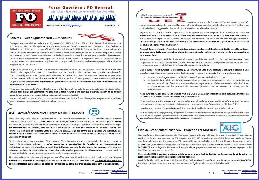 Tract FO Generali du 22 janvier 2015