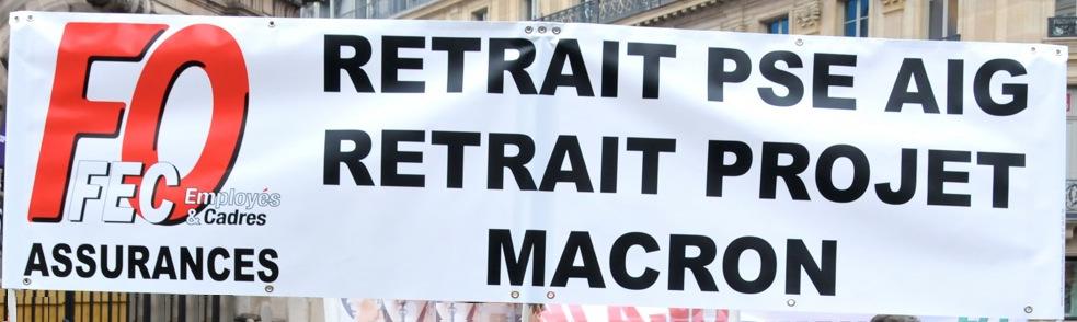 Tract FO & CGT Generali :  Grève interprofessionnelle le 9 avril 2015 contre le projet de loi MACRON dans 1 - Revendications banderole-fo-aig-macron