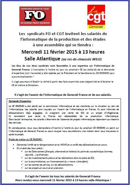 Appel FO & CGT Generali AG Informatique 11 02 2015
